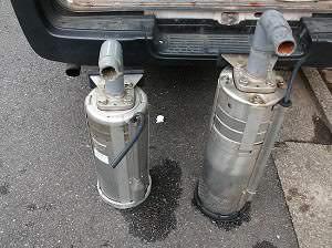 既設揚水ポンプ2台取り外し
